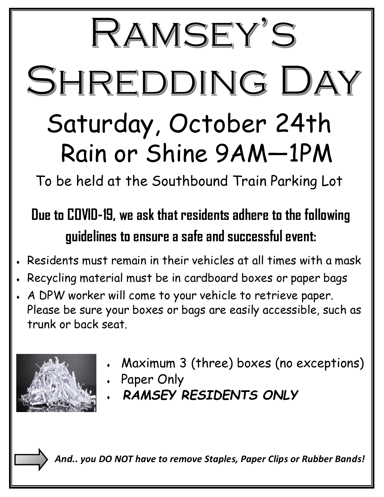 Shred Day Flyer Oct. 2020